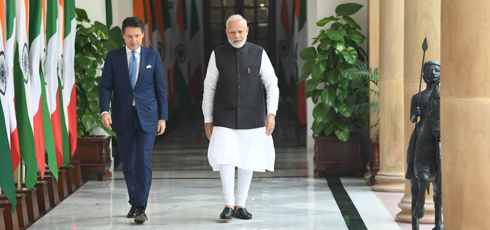 Prime Minister meets Giuseppe Conte, Prime Minister of Italy at Hyderabad House in New Delhi